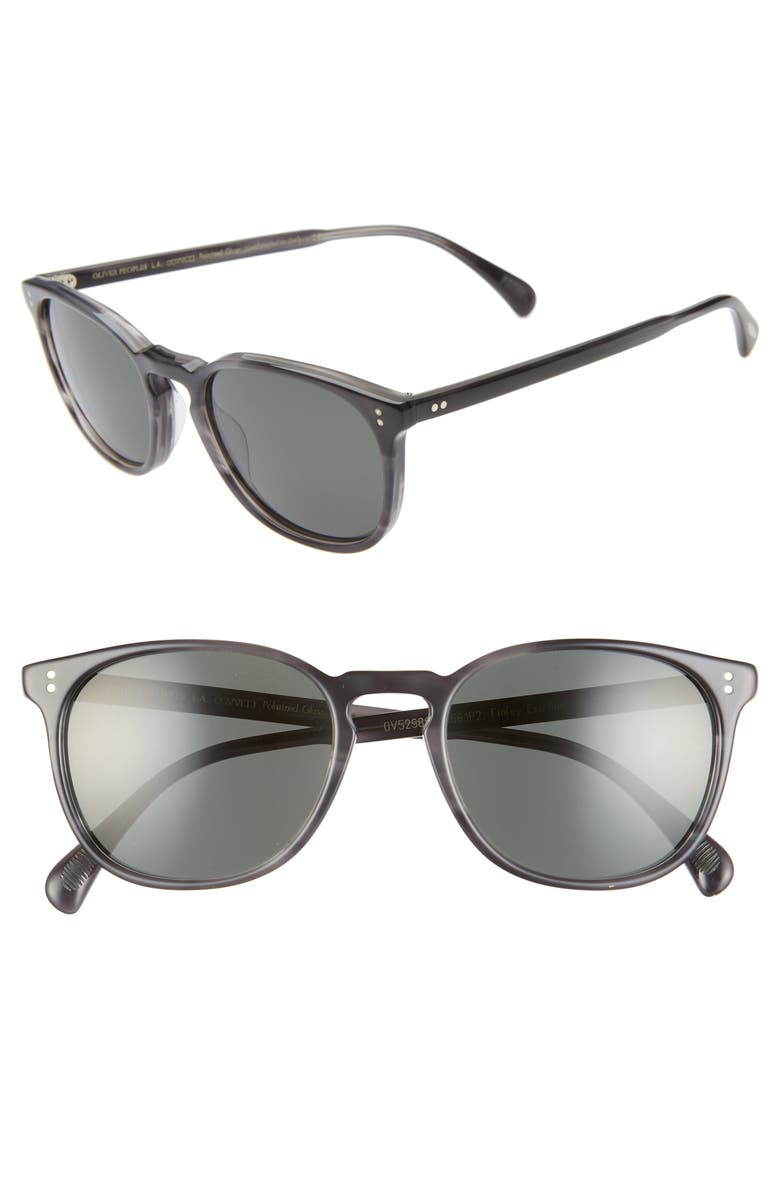 OLIVER PEOPLES Finely 53mm Round Sunglasses, Main, color, CHARCOAL TORTOISE