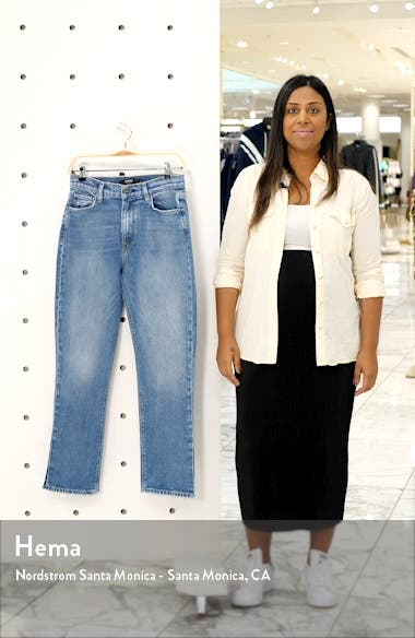 Holly High Waist Side Slit Crop Straight Leg Jeans, sales video thumbnail