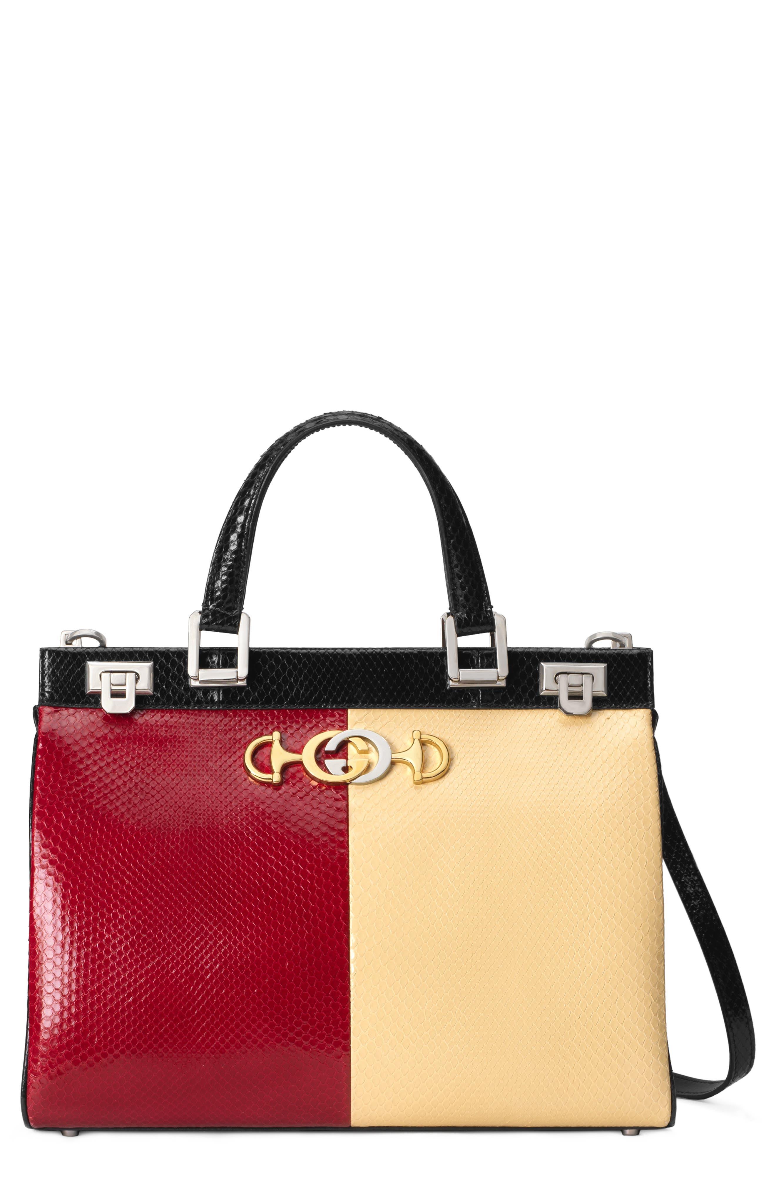 Gucci Bags Medium Zumi Bicolor Genuine Snakeskin Top Handle Leather Bag
