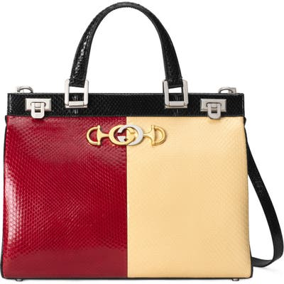 Gucci Medium Zumi Bicolor Genuine Snakeskin Top Handle Leather Bag - Red
