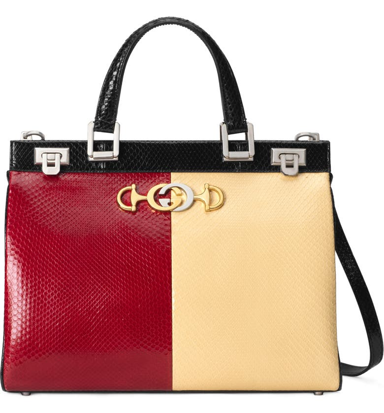 GUCCI Medium Zumi Bicolor Genuine Snakeskin Top Handle Leather Bag, Main, color, HIBISCUS RED/ BUTTER/ NERO