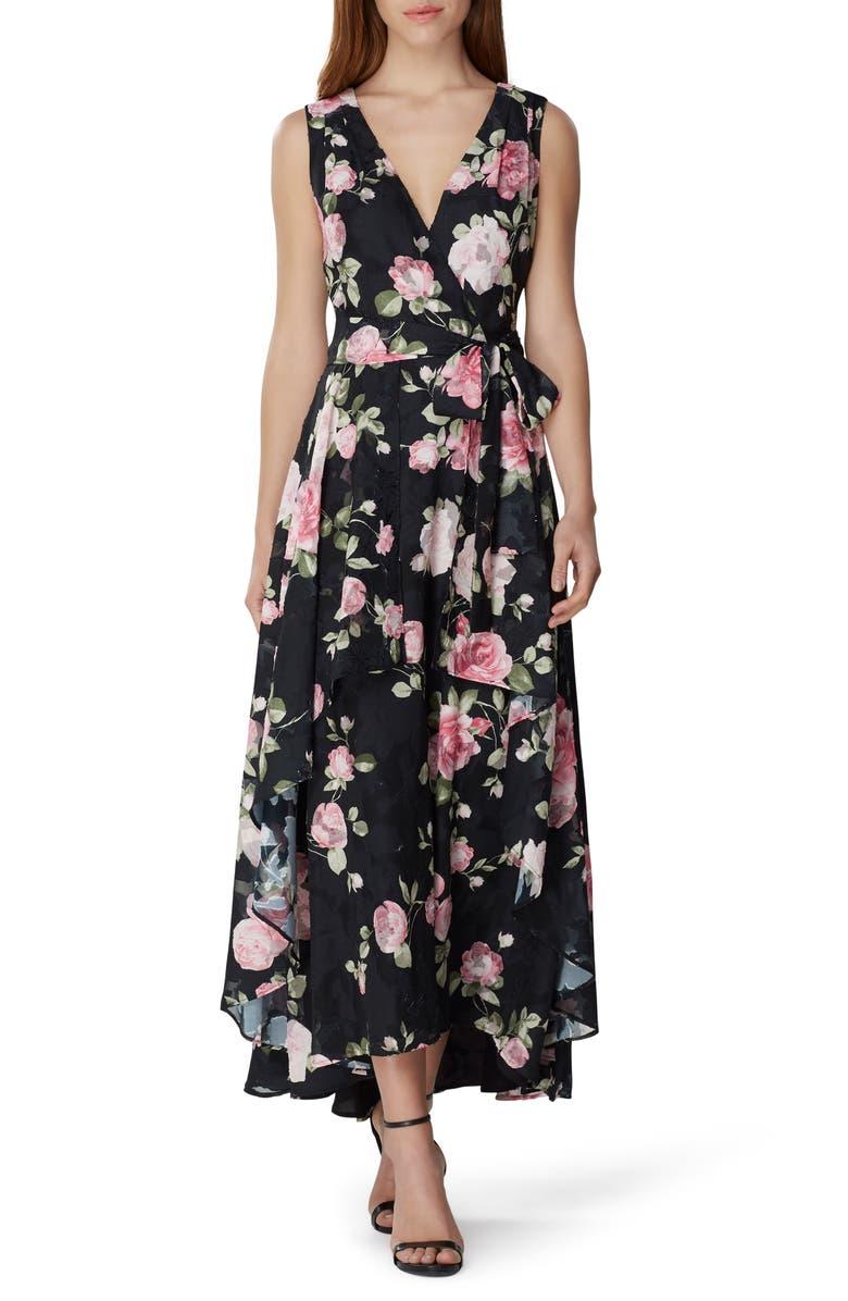 TAHARI Floral Chiffon Maxi Dress, Main, color, ROSE GARDEN PETAL PINK