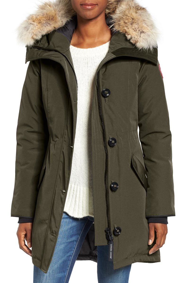 CANADA GOOSE Rossclair Genuine Coyote Fur Trim Down Parka, Main, color, MILITARY GREEN