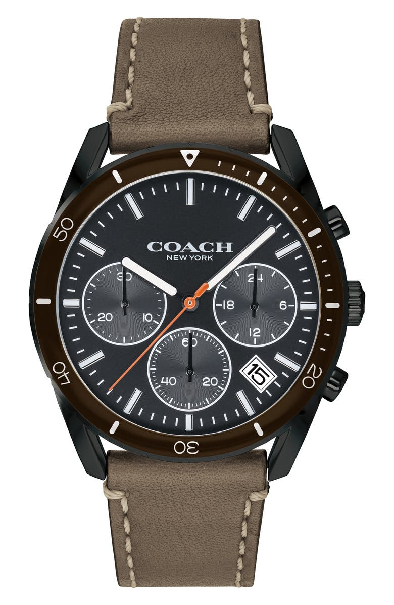 COACH Thompson Sport Chronograph Leather Strap Watch, 41mm, Main, color, GREEN/ BLUE/ BLACK