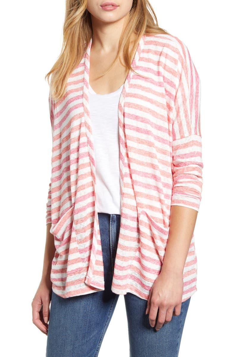 BOBEAU Rumor Stripe Dolman Sleeve Open Cardigan, Main, color, CORAL MULTI STRIPE