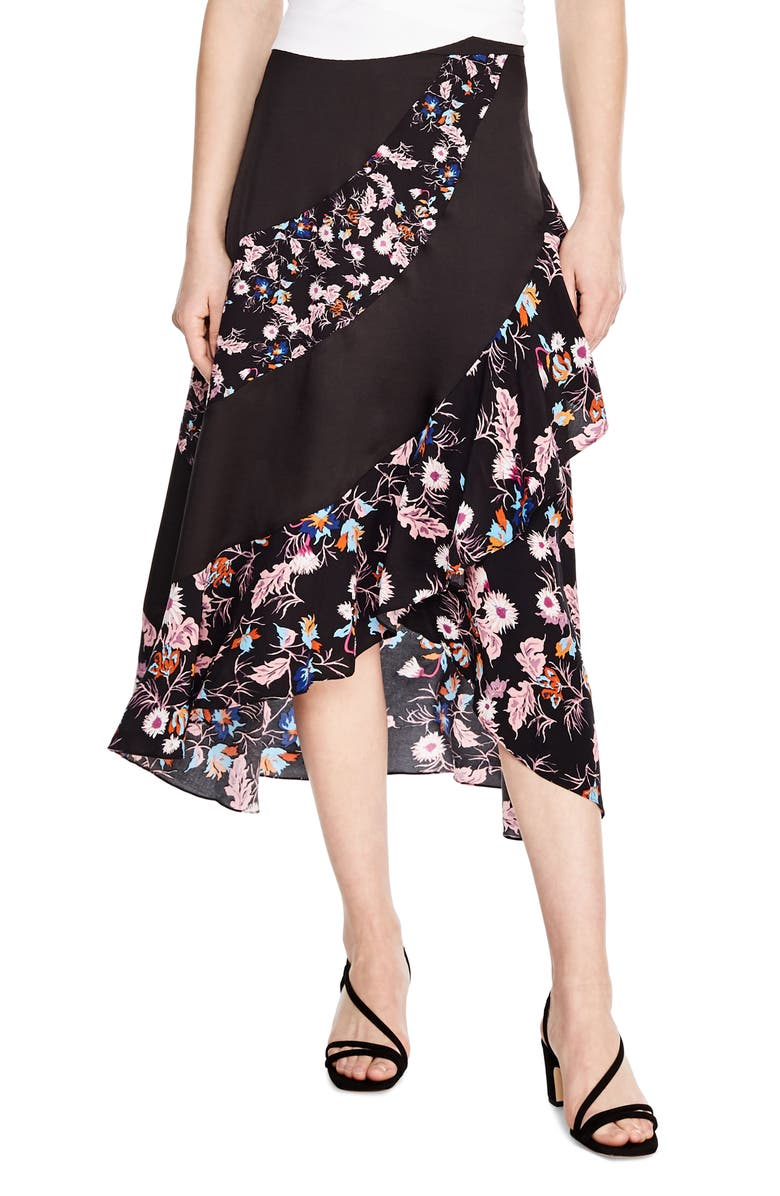SANDRO Kylie Pattern Mix Asymmetrical Skirt, Main, color, 001