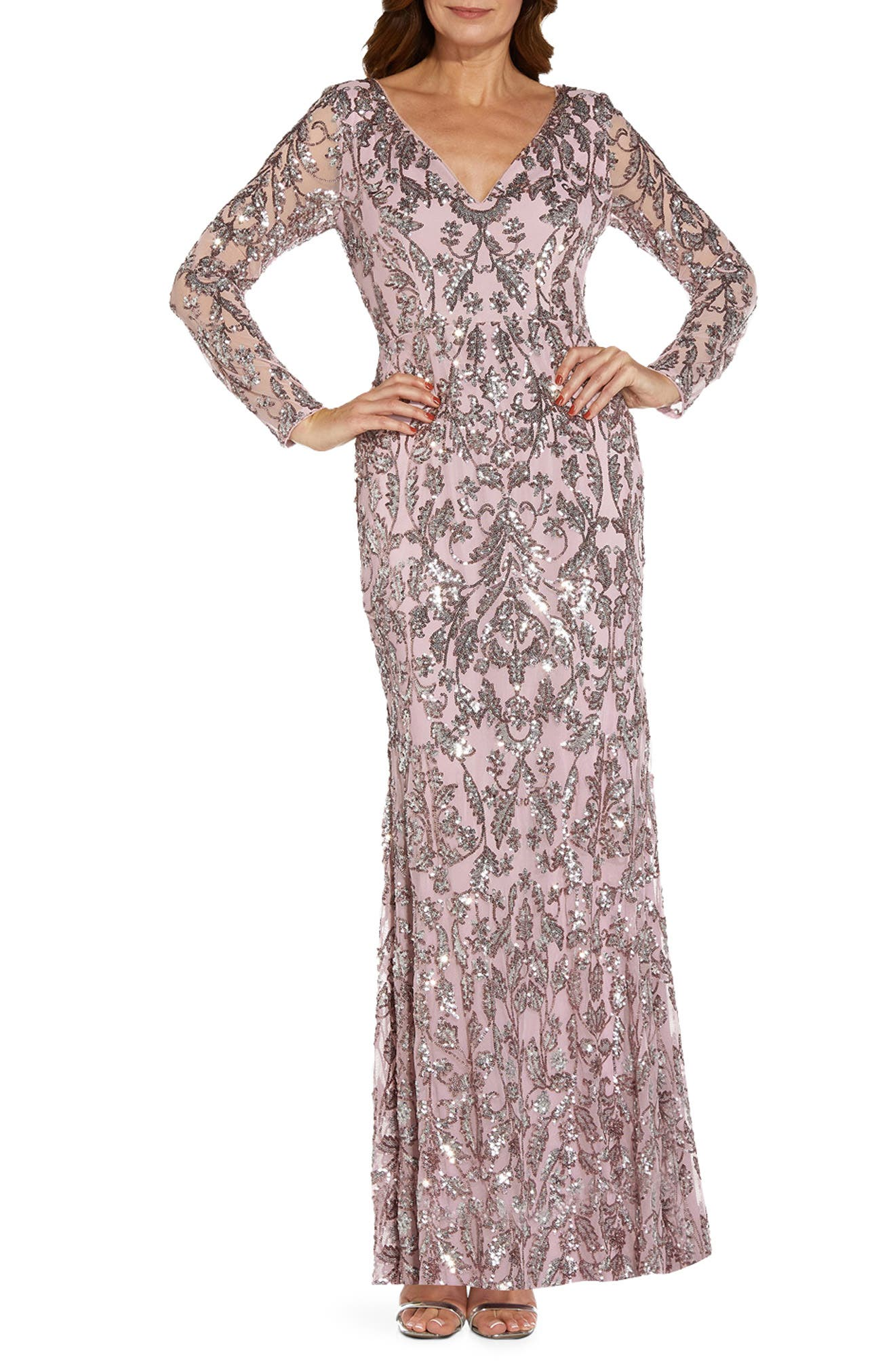 70s Sequin Dresses, Disco Dresses Womens Adrianna Papell Sequin Mesh Long Sleeve Trumpet Gown Size 14 - Pink $279.00 AT vintagedancer.com