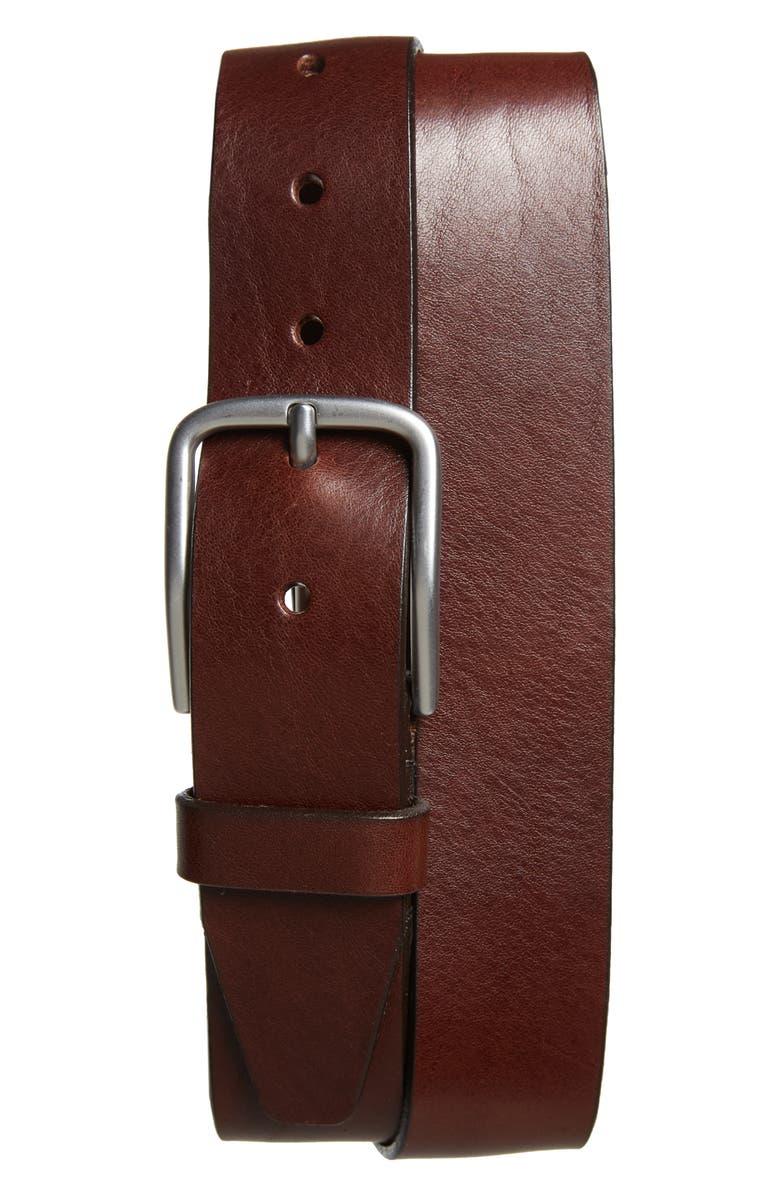 NORDSTROM MEN'S SHOP Rhodes Leather Belt, Main, color, BROWN
