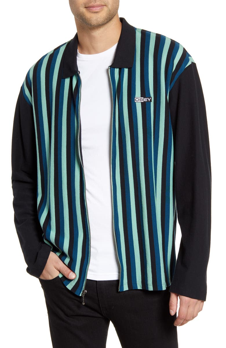 OBEY Bold Stripe Piqué Shirt Jacket, Main, color, PINE MULTI