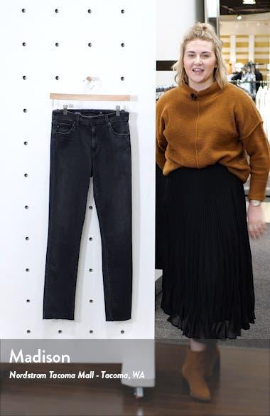 Mari High Waist Raw Hem Slim Straight Leg Jeans, sales video thumbnail