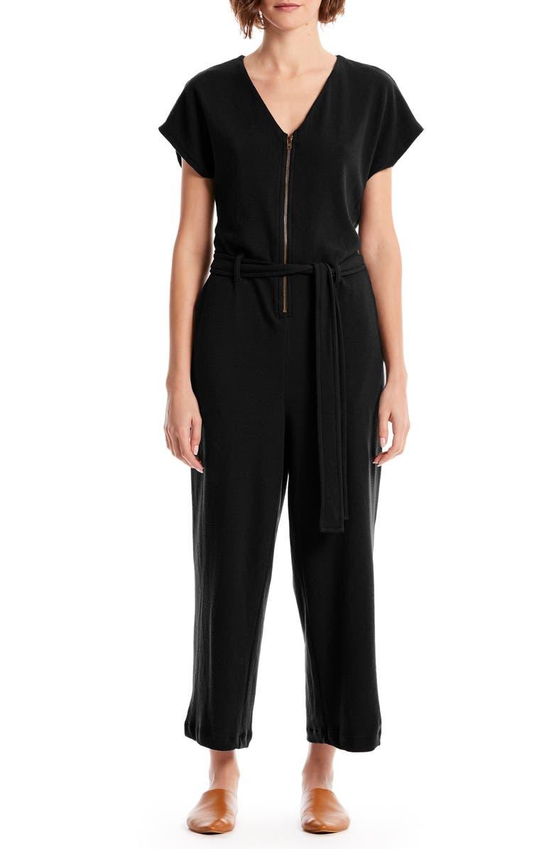 MICHAEL STARS Fiona Zip-Up Cotton Blend Jumpsuit, Main, color, BLACK