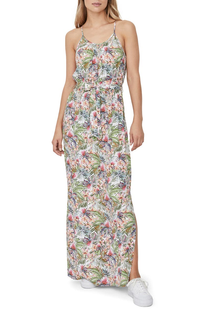 VERO MODA Simply Easy Slit Maxi Dress, Main, color, SNOW WHITE