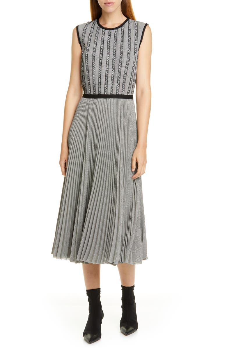 JASON WU Plaid Midi Dress, Main, color, BLACK/ STAR WHITE