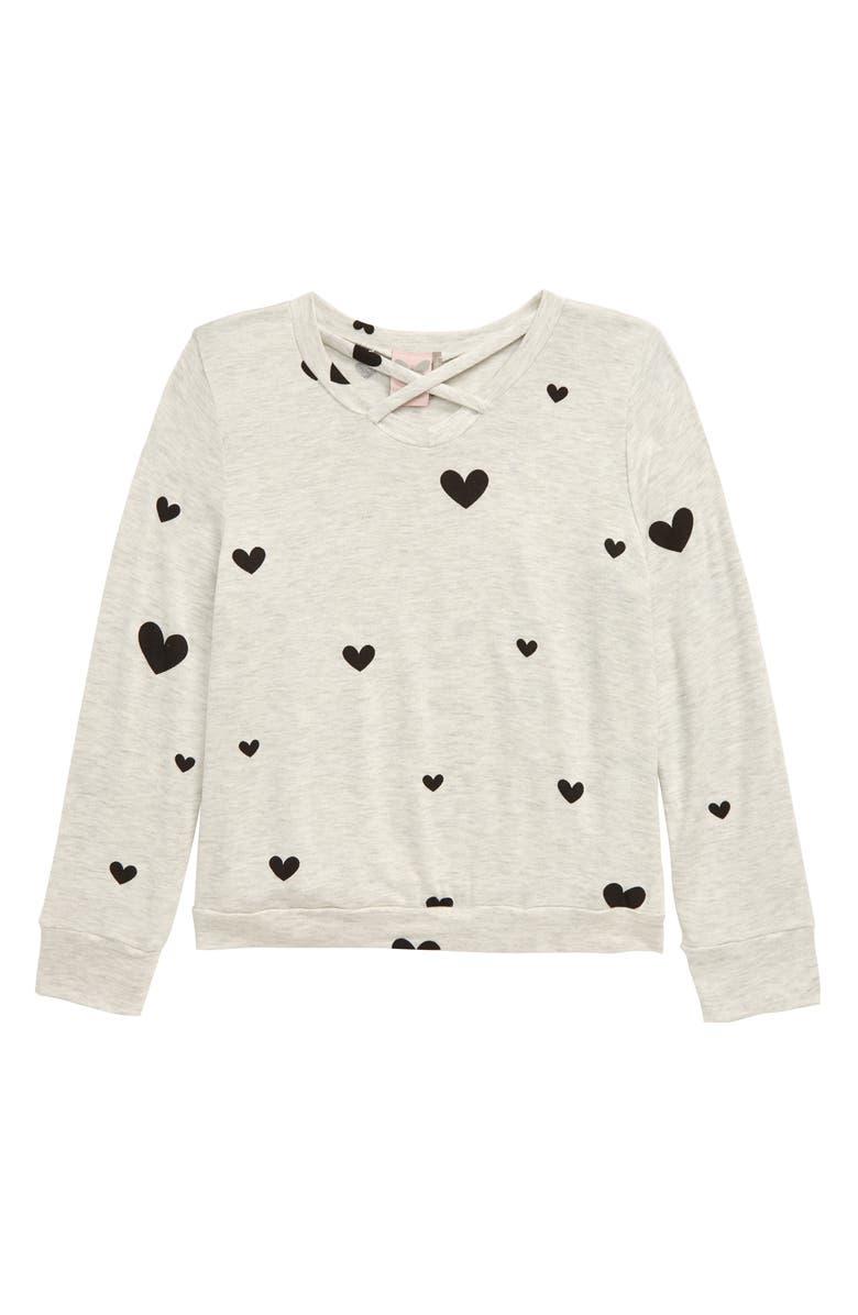 FOR ALL SEASONS Heart Print Long Sleeve Shirt, Main, color, GRAY