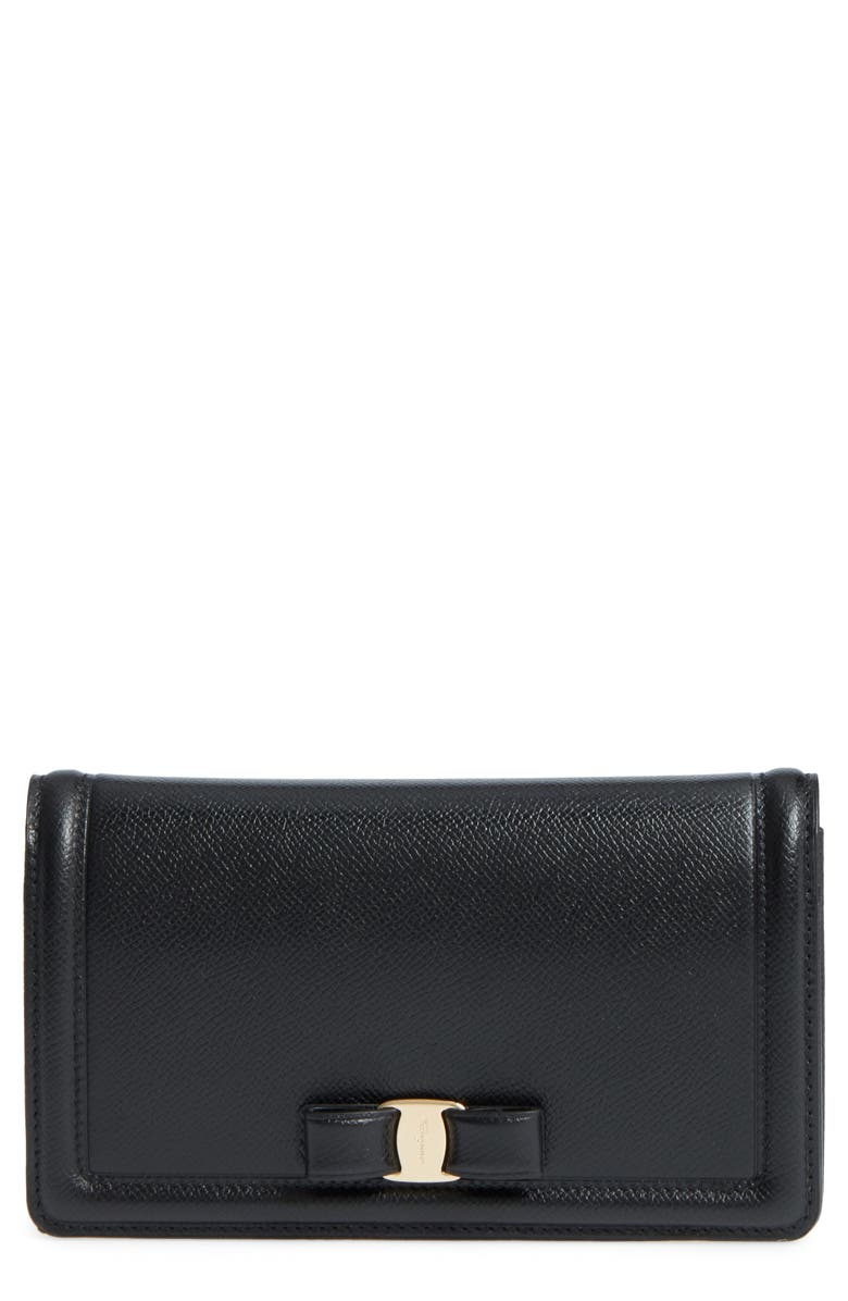 SALVATORE FERRAGAMO Vara Leather Wallet on a Chain, Main, color, NERO
