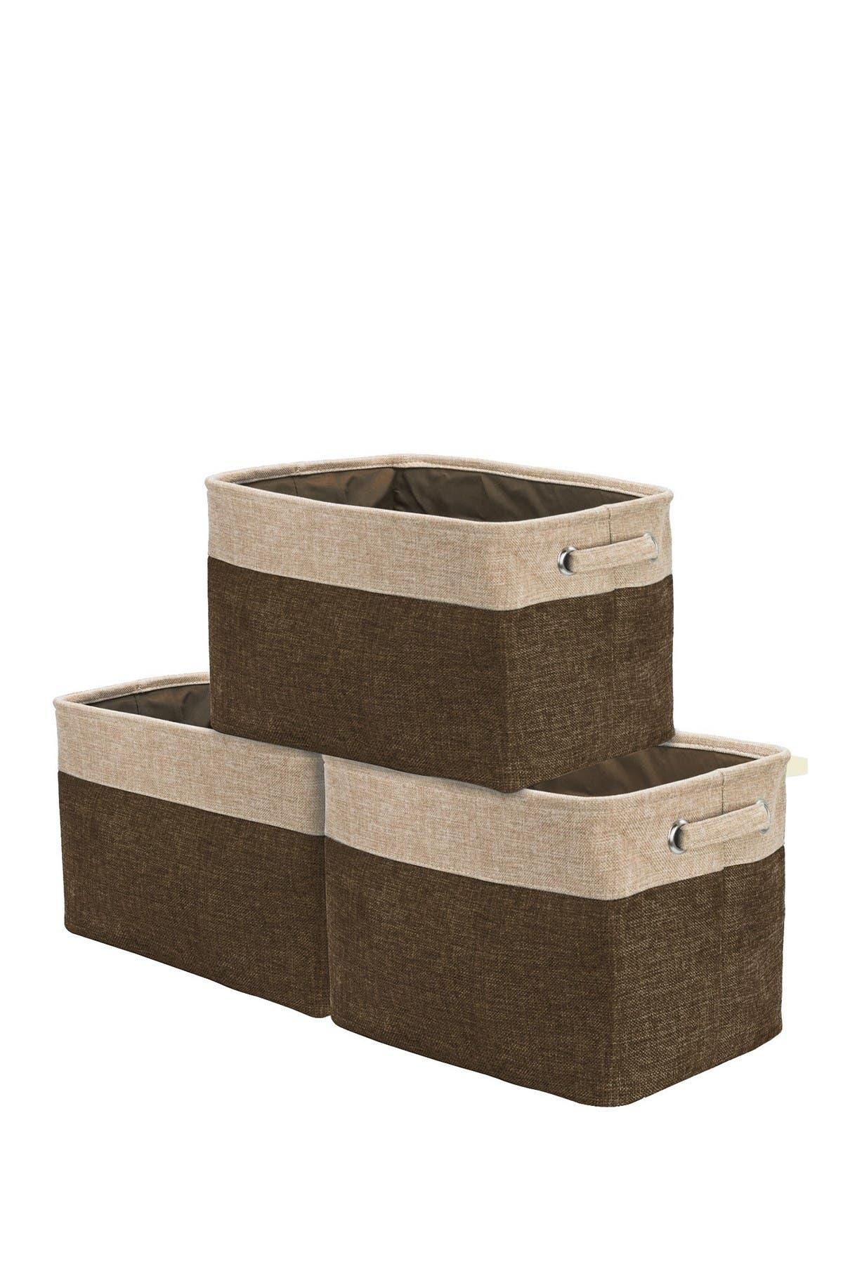 Image of Sorbus Brown Twill Storage Basket - Set of 3