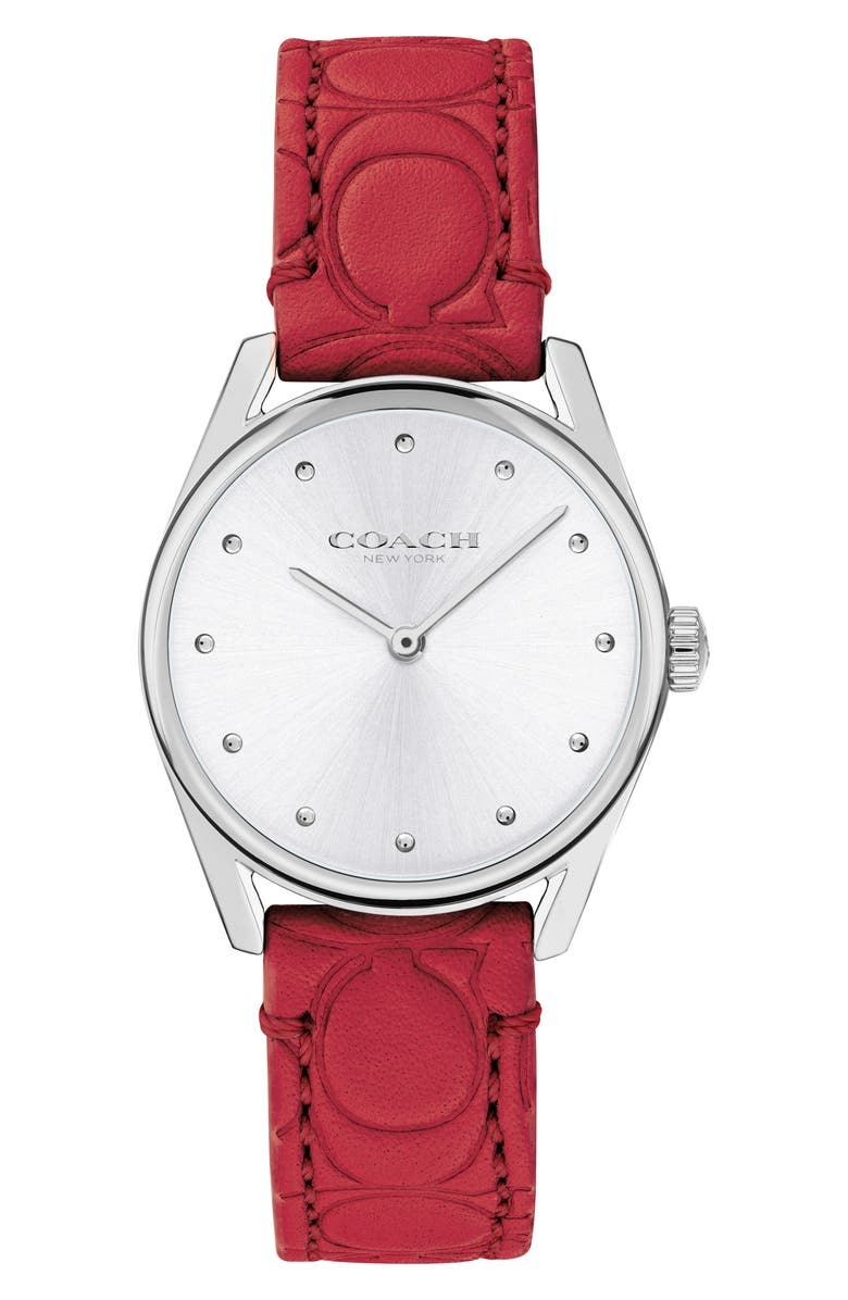COACH Preston Leather Strap Watch, 28mm, Main, color, RED/ SILVER