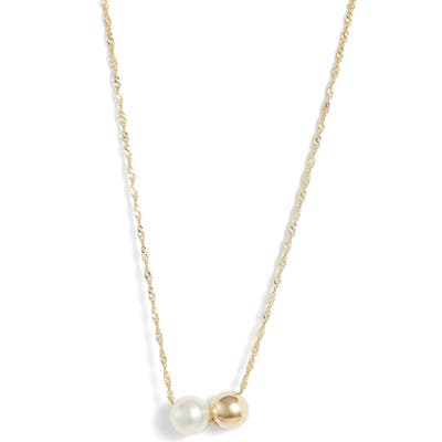 Poppy Finch Duo Pearl Pendant Necklace
