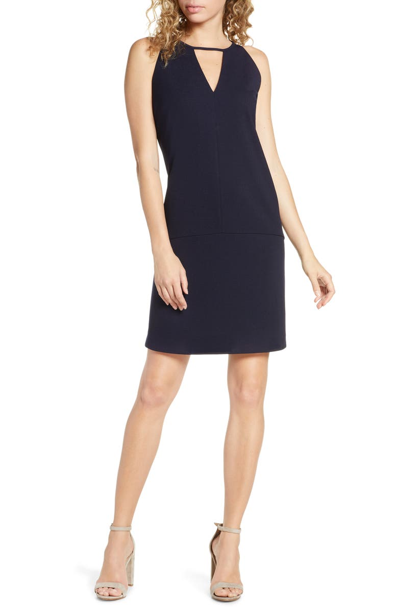 SAM EDELMAN Keyhole Shift Dress, Main, color, NAVY