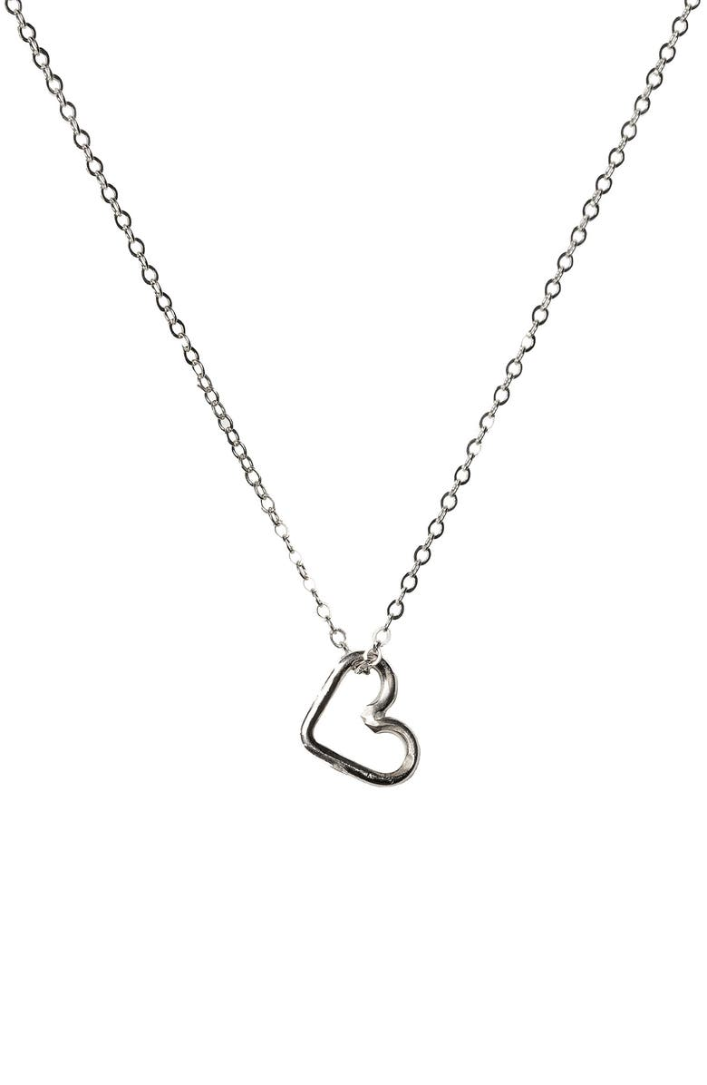 NASHELLE Mini Heart Necklace, Main, color, SILVER