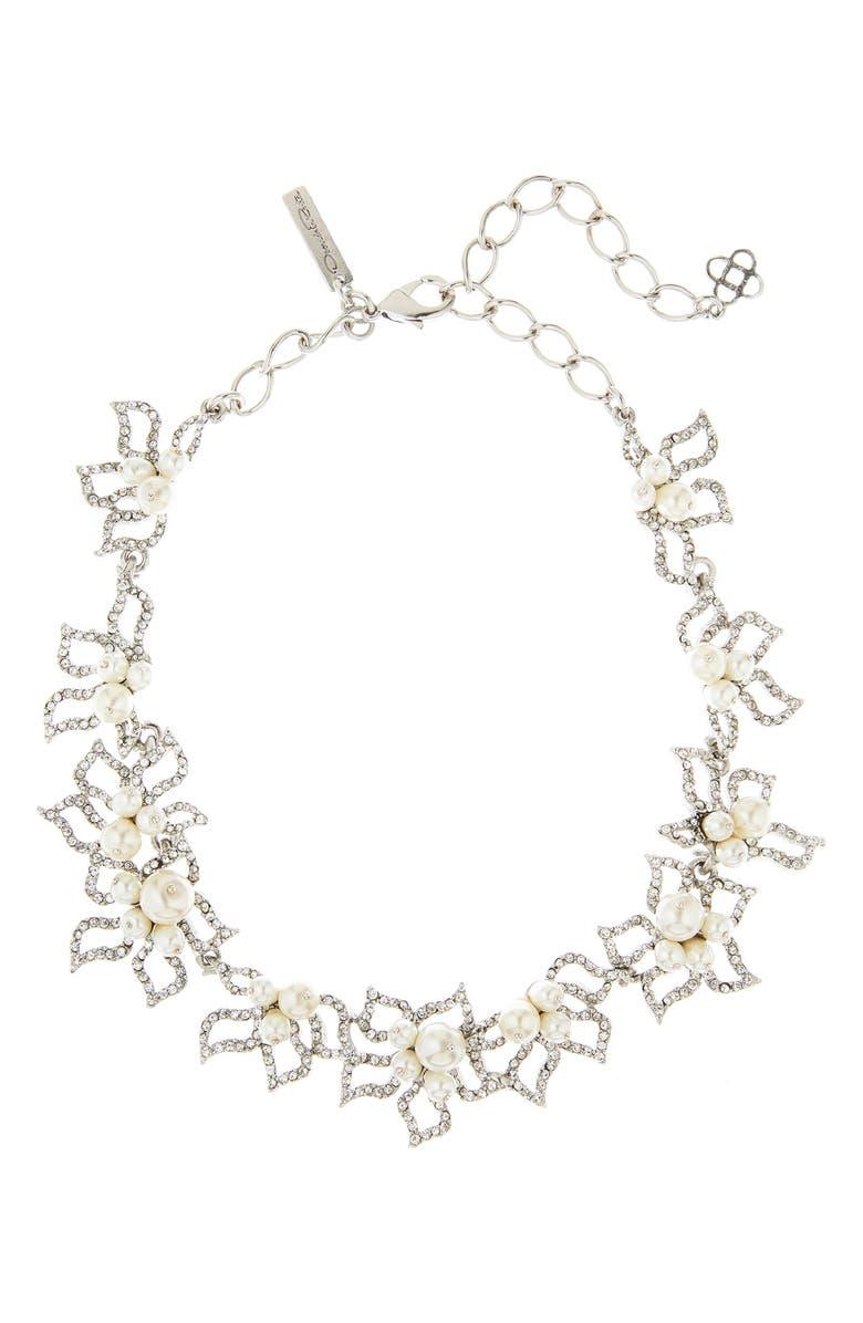 OSCAR DE LA RENTA Pavé Petal Collar Necklace with Imitation Pearl, Main, color, 040
