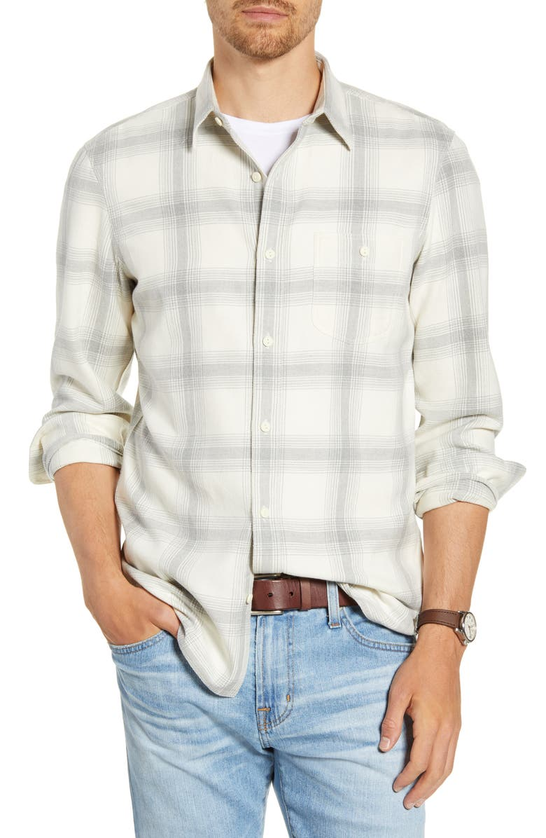 1901 Trim Fit Plaid Twill Button-Up Utility Shirt, Main, color, WHITE GREY HEATHER PLAID