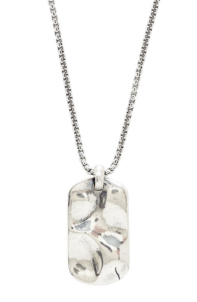 DEGS & SAL Hammered Dog Tag Necklace, Main, color, SILVER