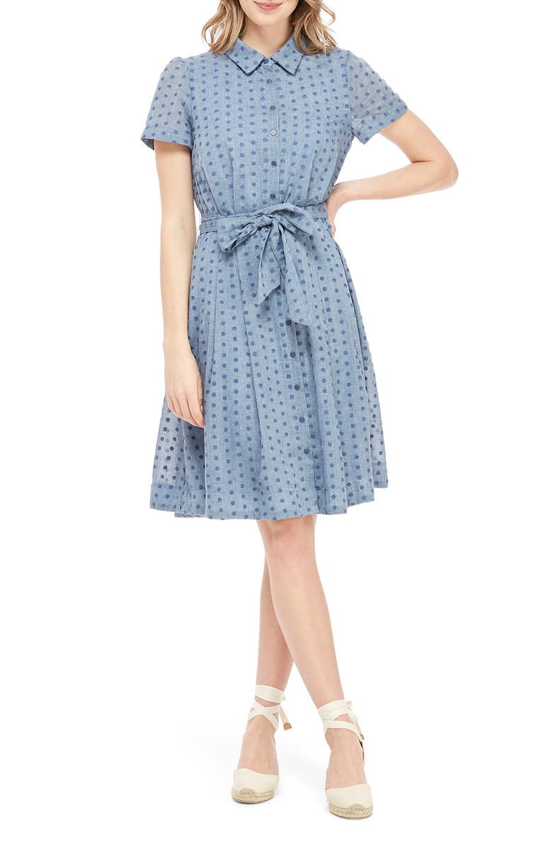 GAL MEETS GLAM COLLECTION Button Down Fit & Flare Shirtdress, Main, color, 400