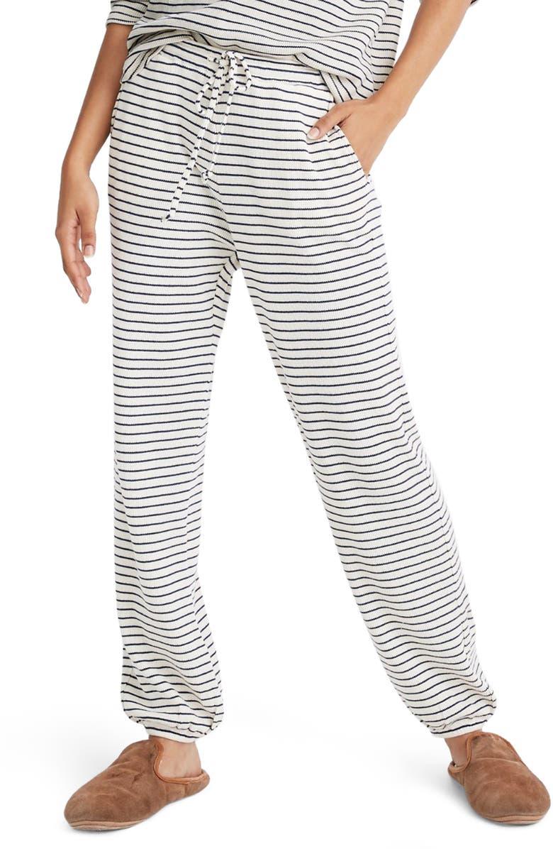 MADEWELL Stripe Waffle Knit Pajama Pants, Main, color, RETRO INDIGO NILE STRIPE