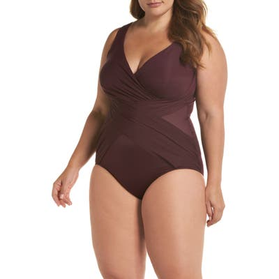 Plus Size Miraclesuit Illusionist Crossover One-Piece Swimsuit, Burgundy