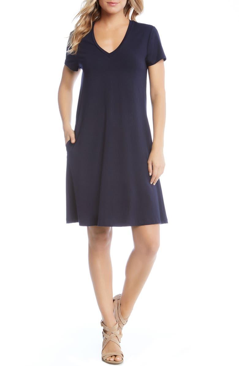 KAREN KANE Quinn Pocket Shift Dress, Main, color, NAVY