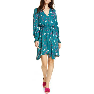 Joie Marlayne Floral Long Sleeve Handkerchief Hem Dress, Blue