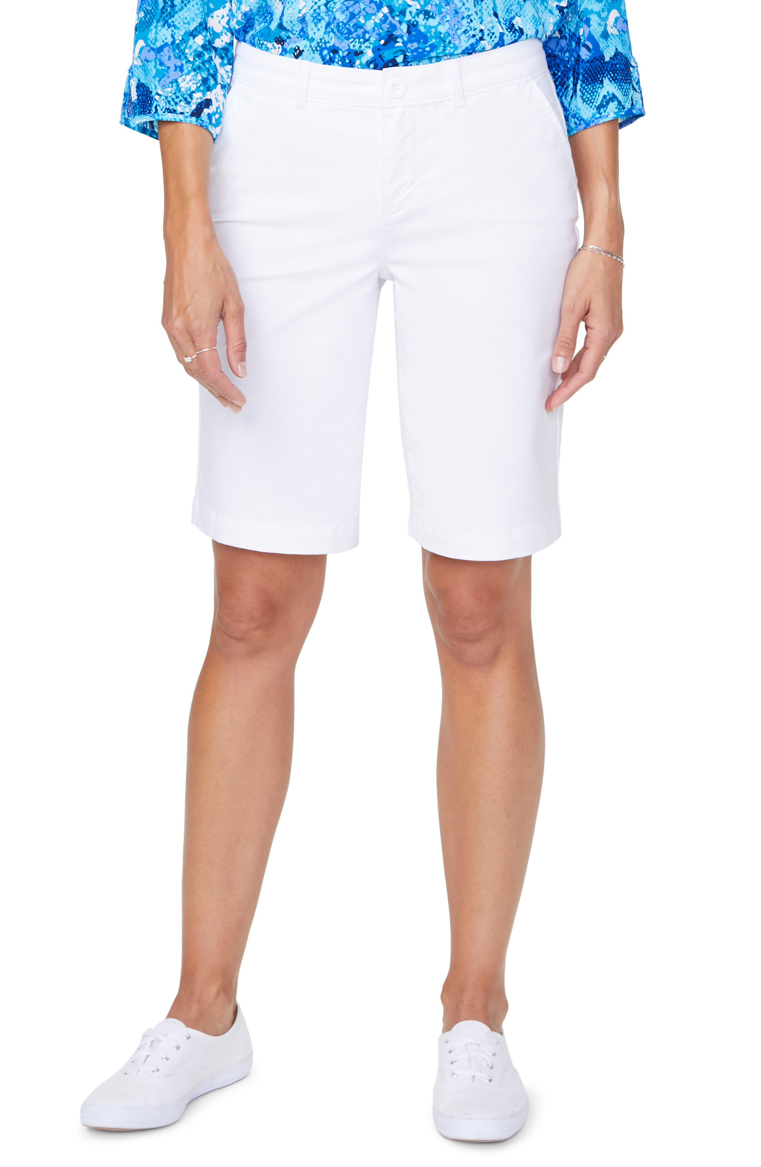 Women's Nydj Stretch Cotton Blend Twill Bermuda Shorts,  10 - White