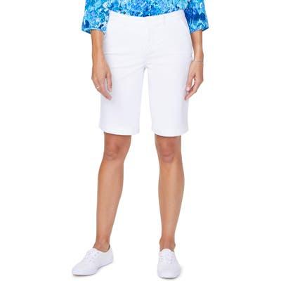 Nydj Stretch Cotton Blend Twill Bermuda Shorts, White