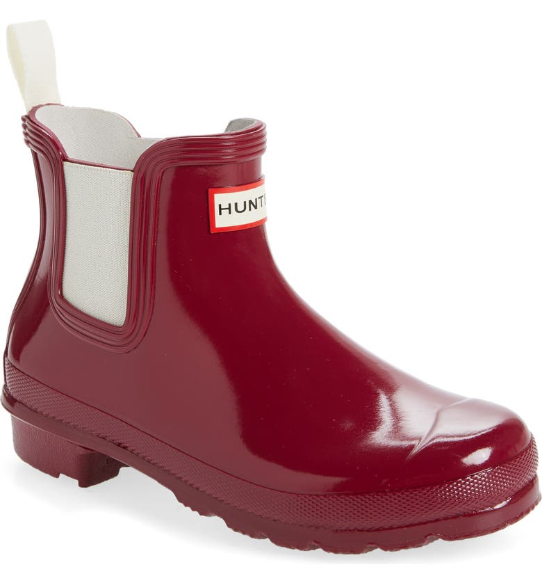 HUNTER Original Gloss Waterproof Chelsea Boot, Main, color, RED ALGAE