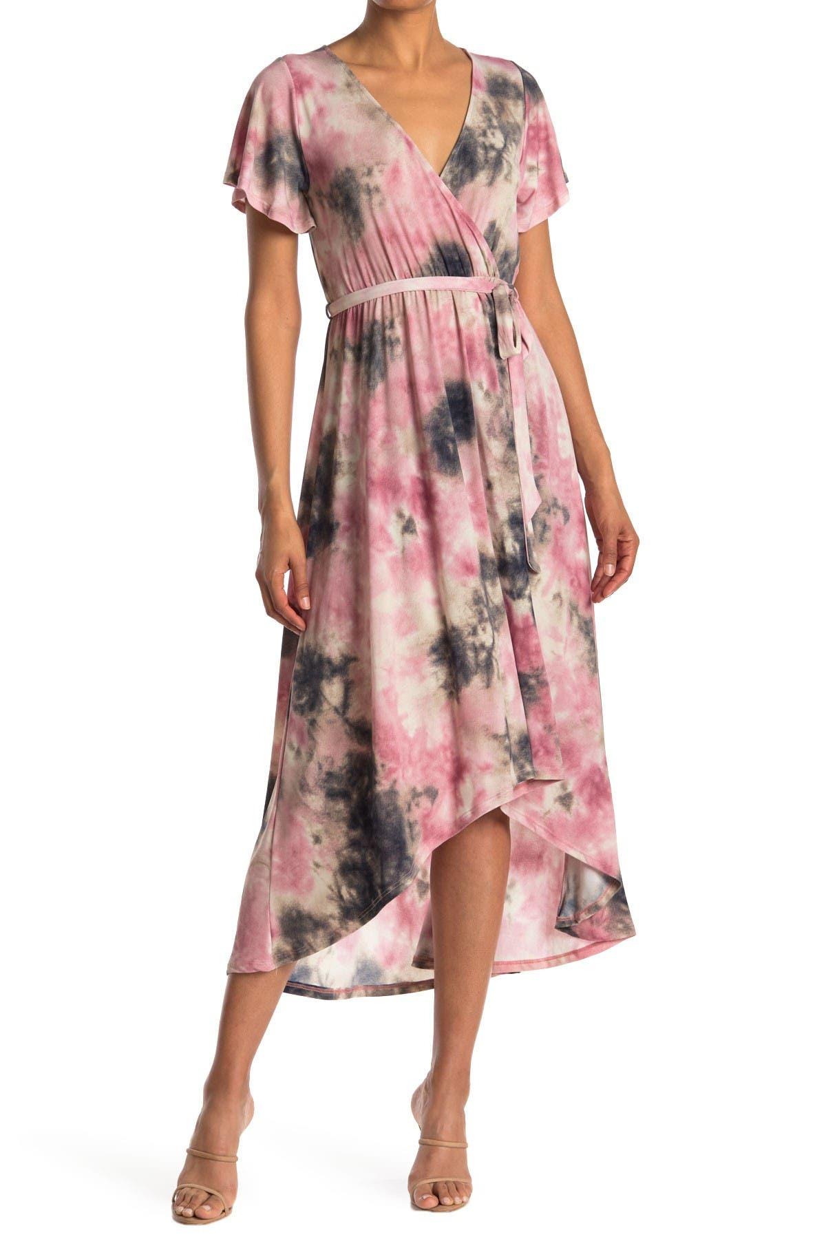 Image of WEST KEI Tie-Dye Surplice High/Low Midi Dress