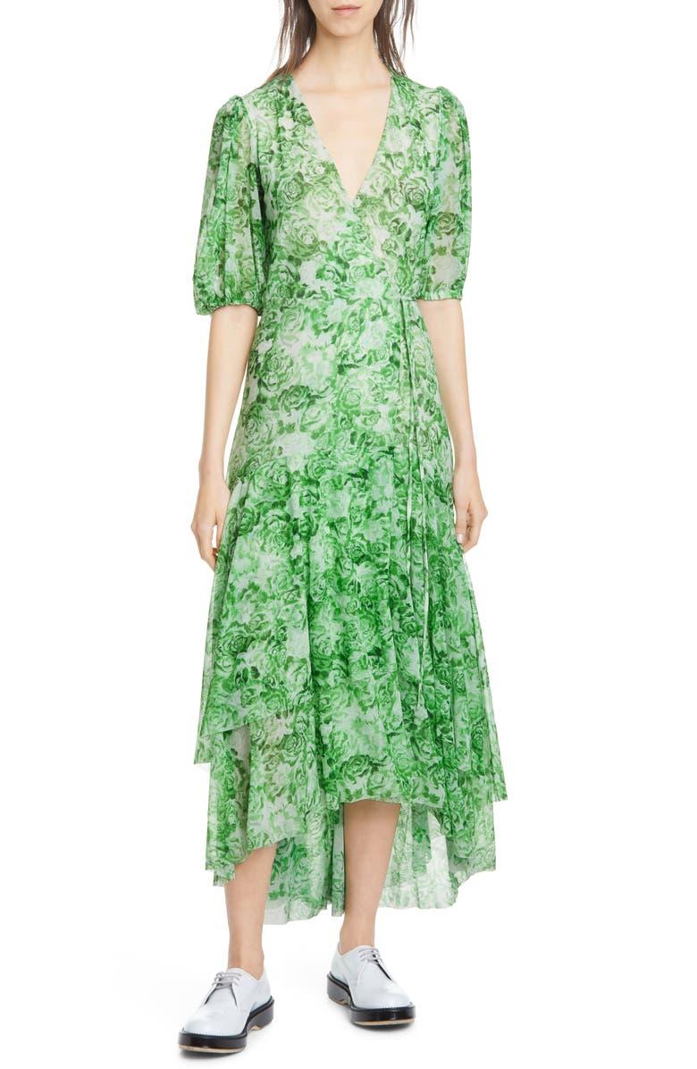 GANNI Floral Print Mesh Midi Wrap Dress, Main, color, ISLAND GREEN