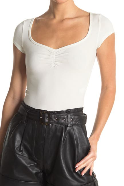 Image of Elodie Ribbed Knit Ruched Crop Top