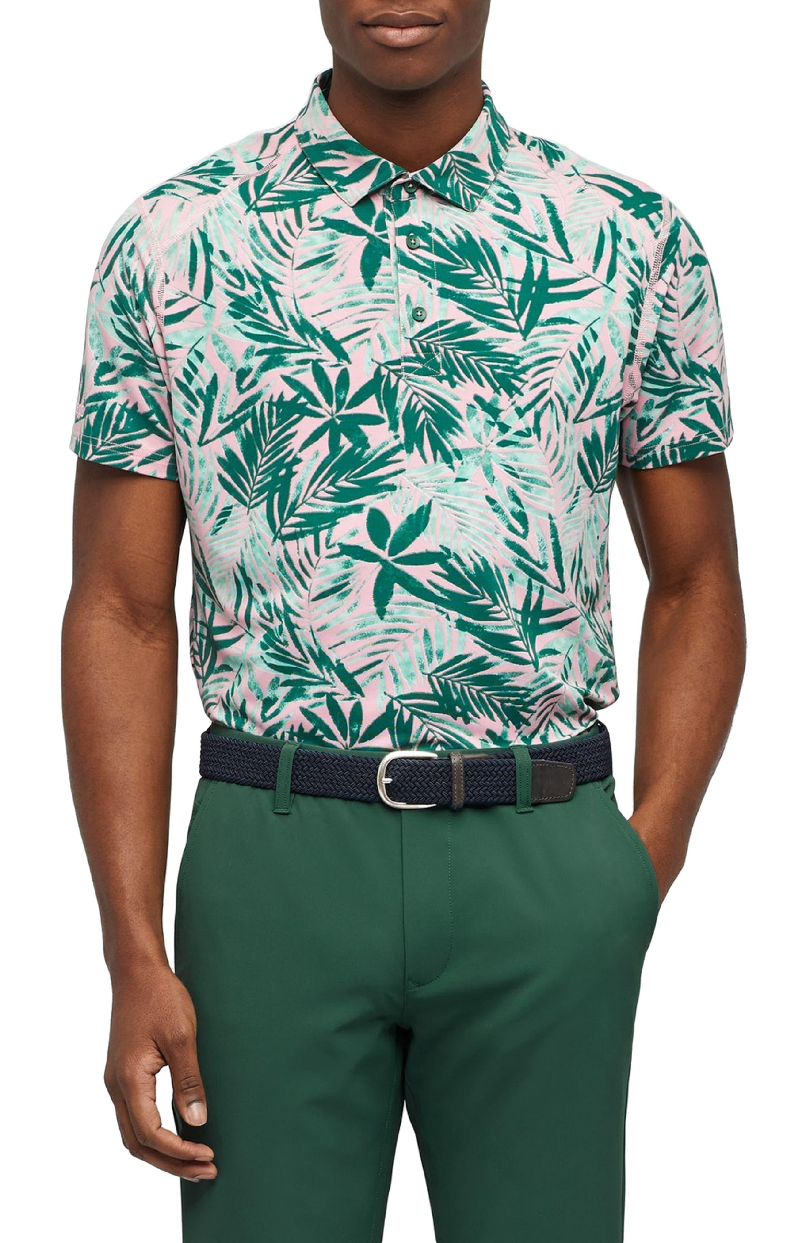 Bonobos M-Flex Flatiron Slim Fit Print Golf Polo, Pink