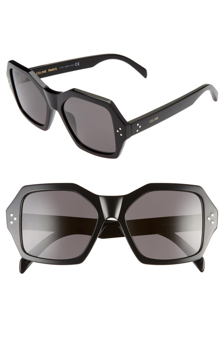 CELINE 55mm Square Sunglasses, Main, color, BLACK/ SMOKE