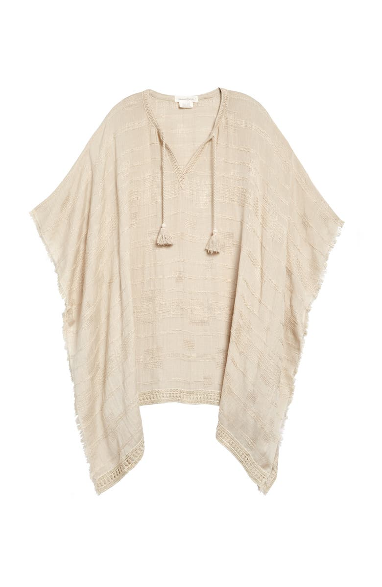 TREASURE & BOND Tassel Trim Poncho, Main, color, BEIGE BIRCH