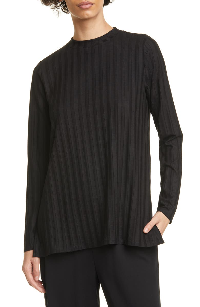EILEEN FISHER Ribbed Mock Neck Tunic, Main, color, 001