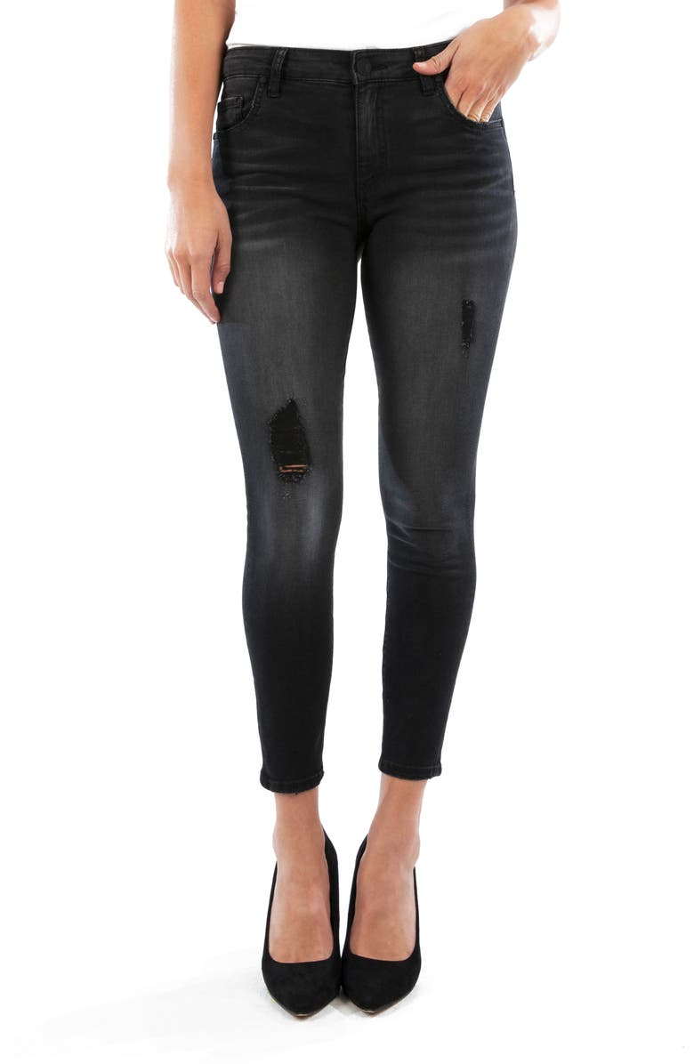 KUT FROM THE KLOTH Connie Ripped High Waist Ankle Skinny Jeans, Main, color, BLACK