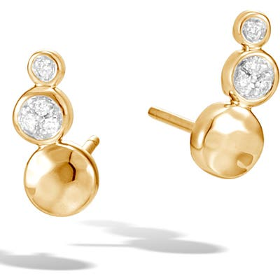 John Hardy Hammered Gold Diamond Linear Stud Earrings
