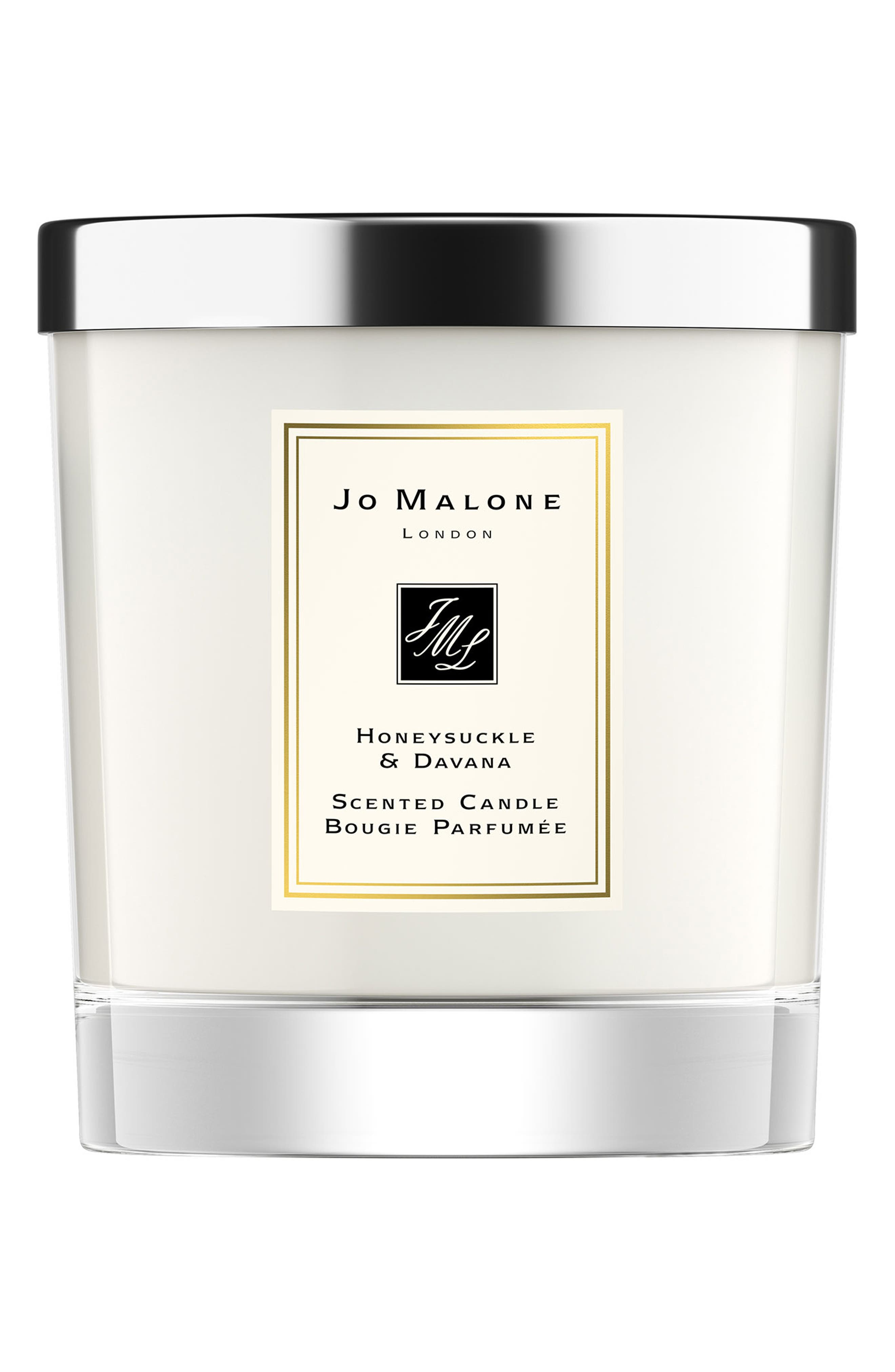 Honeysuckle & Davana Scented Candle, Main, color, NO COLOR