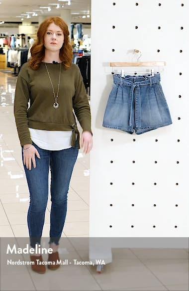Paperbag Waist Pleated Denim Shorts, sales video thumbnail