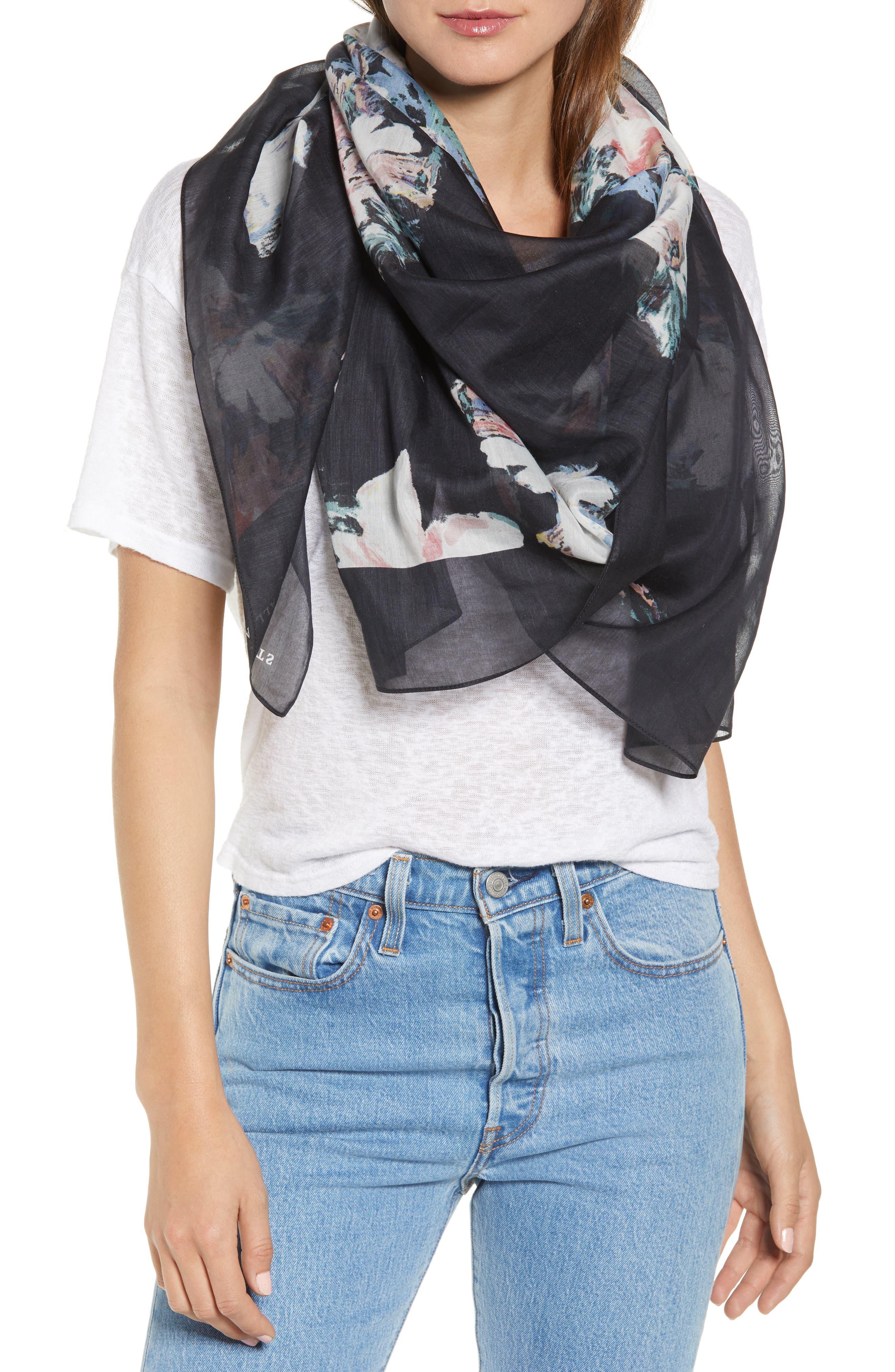 ,                             Violy Cotton & Silk Pareo,                             Main thumbnail 1, color,                             BLACK
