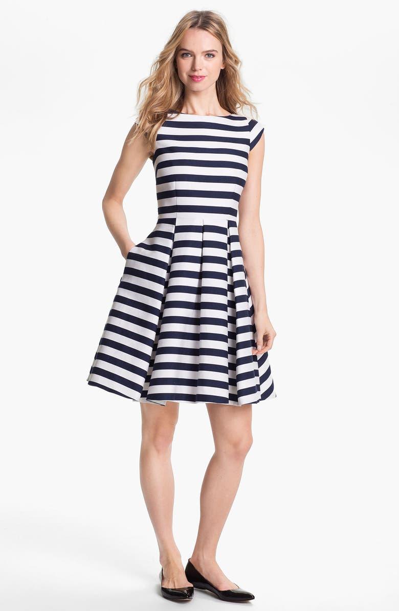 KATE SPADE NEW YORK 'mariella' cotton blend fit & flare dress, Main, color, 400