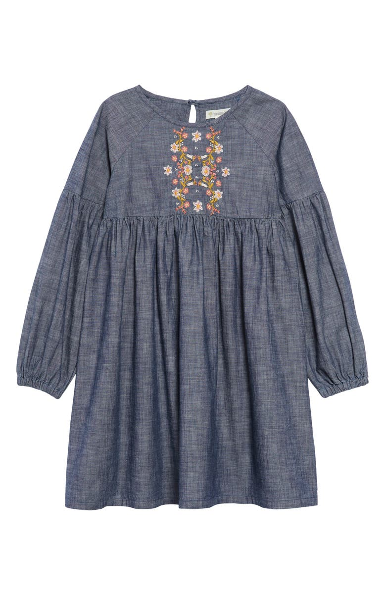 TUCKER + TATE Embroidered Chambray Dress, Main, color, RINSE WASH
