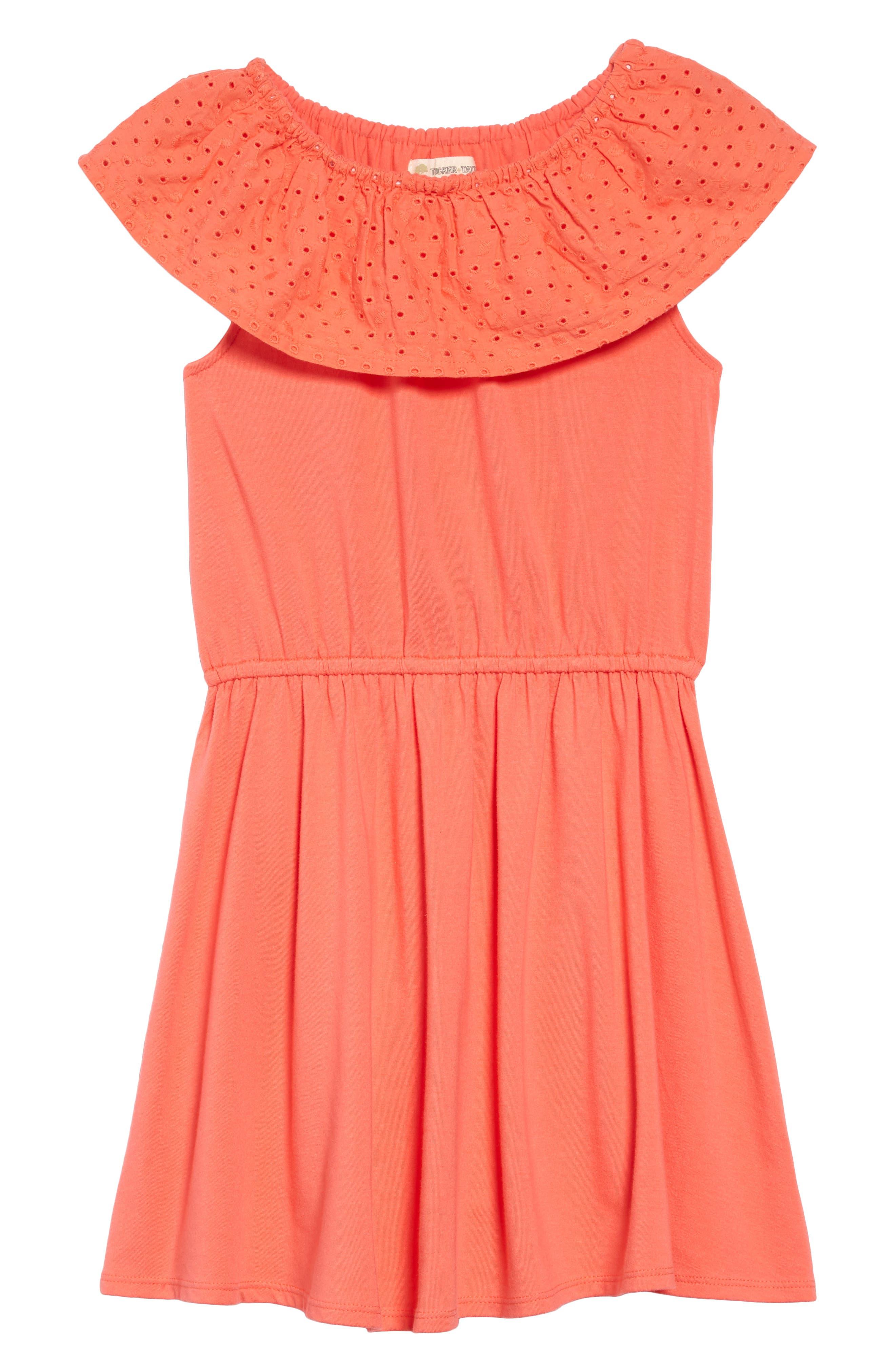 ,                             Eyelet Ruffle Knit Dress,                             Main thumbnail 1, color,                             CORAL GLOW